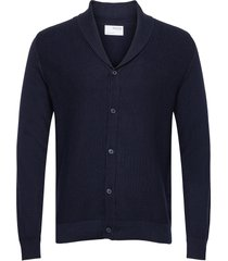 slhberg shawl cardigan b stickad tröja cardigan blå selected homme