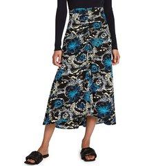 a.l.c. women's mabelle a-line printed skirt - black blue - size 2