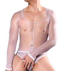 unisex nylon shiny glossy pantyhose bodystocking sheer long sleeve bodysuit