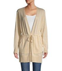 calvin klein women's long knit cardigan - wheat - size s