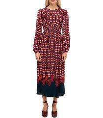 kate spade new york women's wild-print midi dress - red - size 0