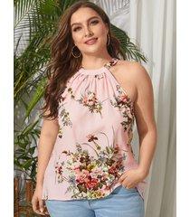 yoins plus talla sin espalda diseño camisón sin mangas con cuello halter y estampado floral