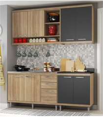 cozinha compacta completa multimã³veis com 4 peã§as sicãlia 5818 argila/grafite - bege/incolor - dafiti