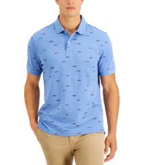 club room men's fish print performance stretch polo, created for macy's