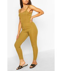petite strap detail fitted rib jumpsuit, olive