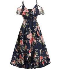 floral print cold shoulder surplice dress
