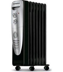 aquecedor a óleo mondial a-06, 3 níveis de aquecimento, preto e prata - 110 volts