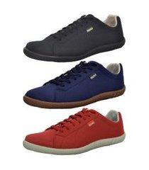 kit masculino 3 pares sapatênis casual polo blu preto/azul/vermelho