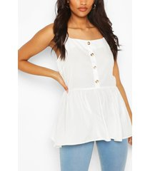 maternity button front cami smock top, white