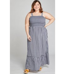 lane bryant women's shirred maxi dress 22/24 blue & white