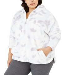 calvin klein performance plus size printed fuzzy zip-front jacket
