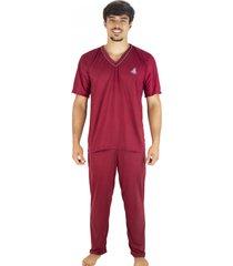 pijama mvb modas longo adulto manga curta e calça vinho