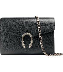 women's gucci leather wallet on a chain - black