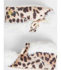 river island baby brown leopard print pom pom bootie
