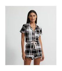 pijama americano curto em viscolycra com estampa xadrez | lov | preto | gg