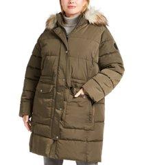 dkny plus size faux-fur trim hooded anorak puffer coat