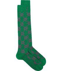 gucci gg supreme intarsia lurex socks - green