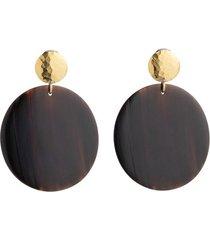 natori buffalo nail circular clip earrings, women's, brown natori