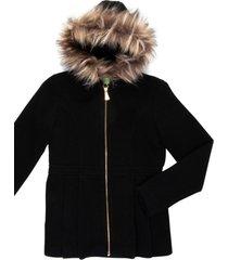 casaco lá capuz removível gingga baby e kids preto - tricae