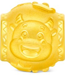 chow tai fook year of the ox barrel charm pendant in 24k gold