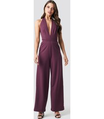 na-kd party halterneck jumpsuit - purple