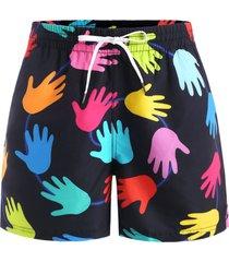 hand palm print casual shorts