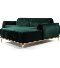sofá 3 lugares com chaise esquerdo base de madeira euro 230 cm veludo verde gran belo