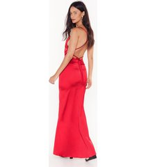 womens always the bridesmaid satin strappy dress - red