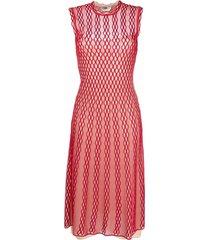 fendi open-knit midi dress - red