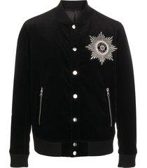 balmain crystal embellished bomber jacket - black