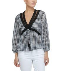 laundry by shelli segal gingham-print lace-trim top