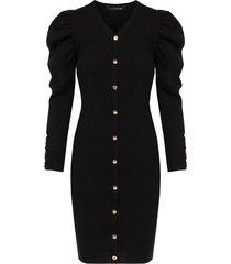 knopen jurk pofmouwen zwart