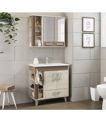 conjunto de banheiro jaeli jb-800, snow e conect, 80 cm