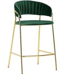 stołek barowy hoker barowy welur ciemno zielony
