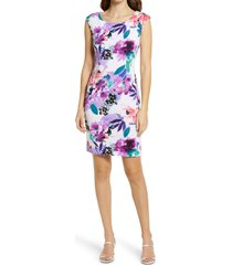 connected apparel watercolor floral sheath dress, size 10 in ivory lavender at nordstrom