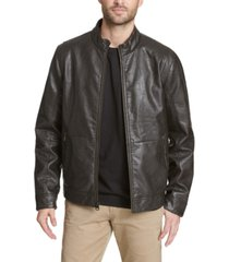 dockers men's vintage faux leather fashion racer jacket