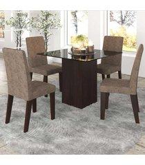 mesa de jantar 4 lugares bolero com vidro preto 11557 ameixa/malta - mobilarte móveis