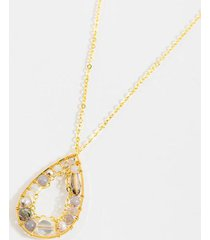 cammie beaded teardrop pendant necklace - ivory