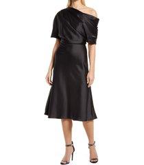 amsale drape one-shoulder midi cocktail dress, size 2 in black at nordstrom