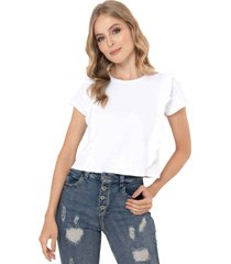 camiseta volante blanco ragged pf51120500