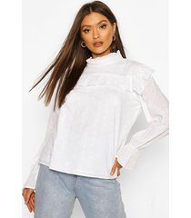 broderie anglaise frill blouse, white