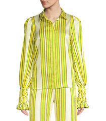 alexis women's catina striped puff sleeve blouse - tuscan stripe - size xs