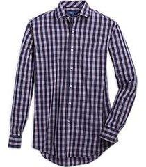 cole haan grand.s navy & gray plaid sport shirt
