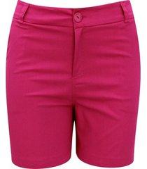 shorts pau a pique de sarja liso pink - rosa - feminino - dafiti