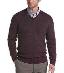 joseph abboud burgundy modern fit v-neck sweater