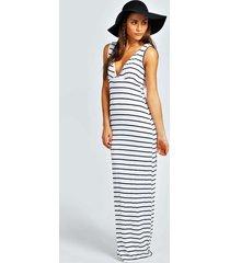 petite plunge striped jersey maxi dress, ivory