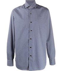 barba micro-geometric print shirt - blue