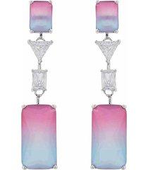 brinco narcizza semijoias pêndulo quadrados multicollors - rainbow rosa e azul com detalhes cristal ródio