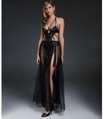 hunkemöller private lång kjol i mesh-tyg svart