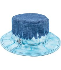 alberta ferretti tie- dye print hat - blue